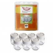 Set of 7 glass pots and lid